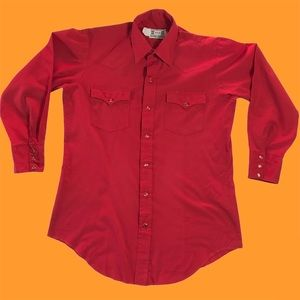 Red Western Shirt Country Pearl Snap Retro Vintage